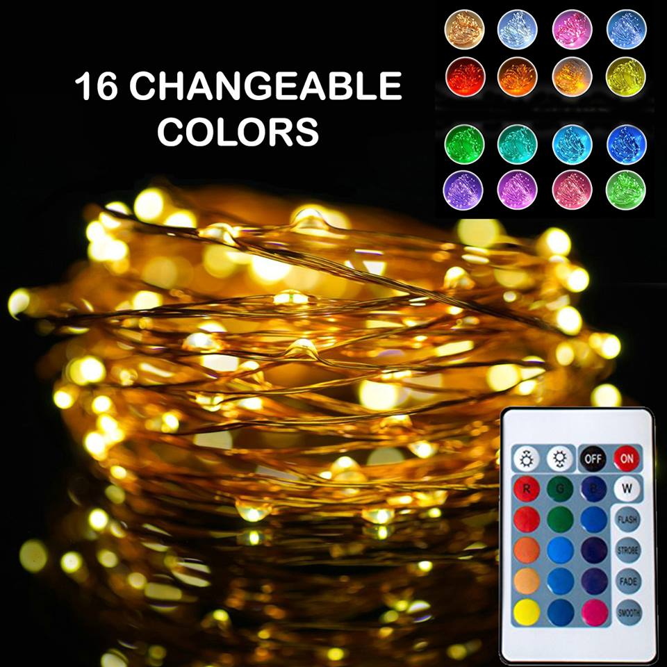 Led Fairy Lights Rgb Battery Operated With Remote
